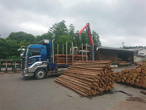 木材トラックによる入荷(出荷)